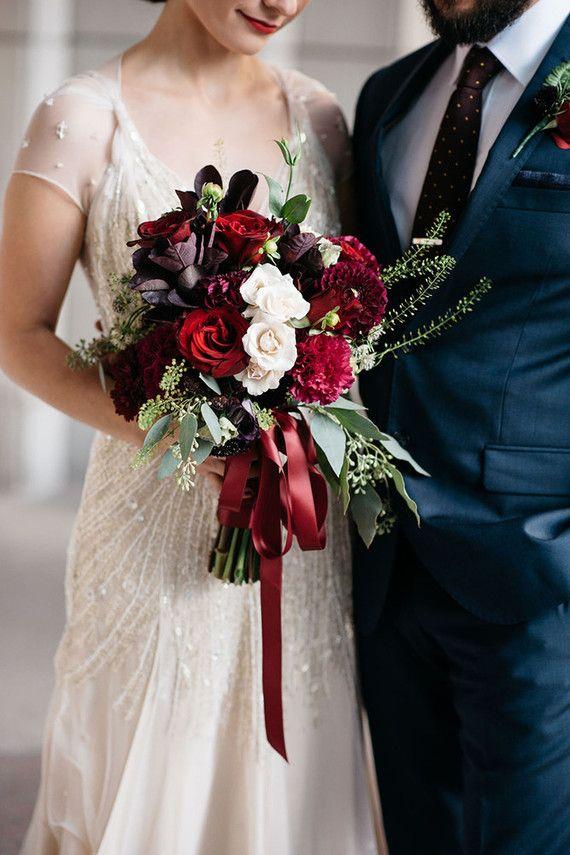 Dark Red And White Winter Wedding Bouquet Daydream Believer