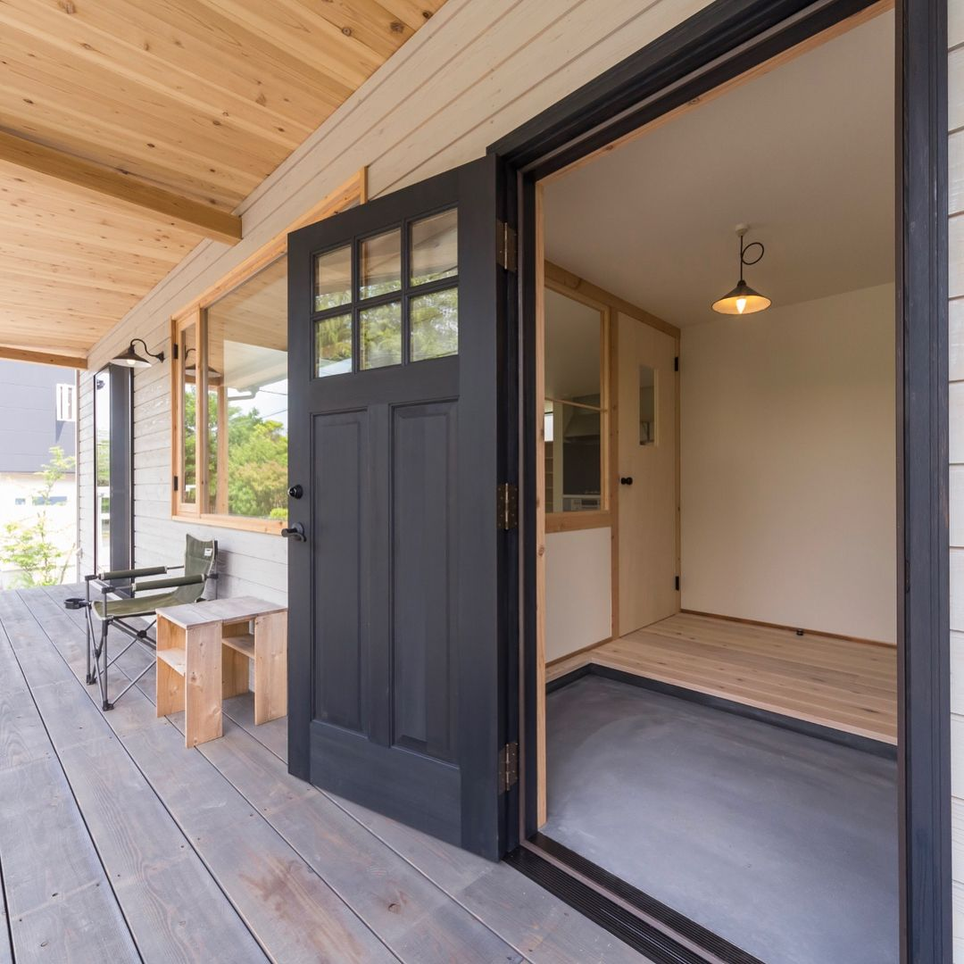 "Studio Links Co., Ltd. on Instagram: ""The front door of the Wildcat House is an imported wooden door. The color of the fittings …"