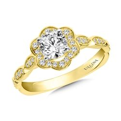 Halo Engagement Ring Mounting in 14K Yellow Gold (.17 ct. tw.)