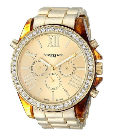 Take a look at this Gold Rhinestone Matte Boyfriend Watch on zulily today!