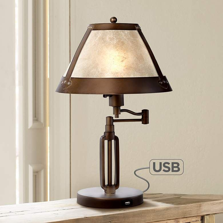 Samuel Swing Arm Desk Lamp With Mica Shade And Usb Port 6t629