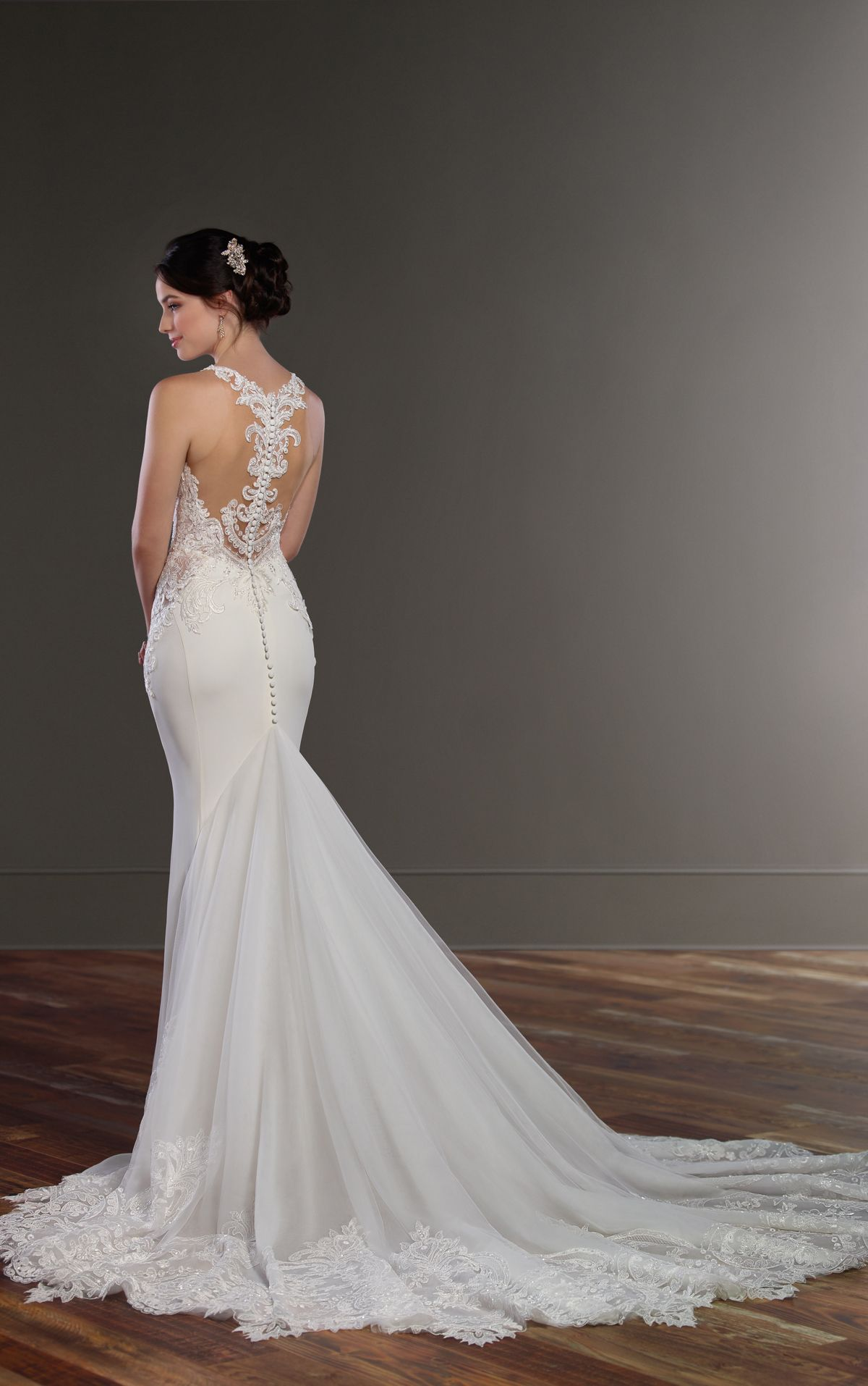 Illusion Racerback Wedding Dress with High Neck | Wedding dress and ...