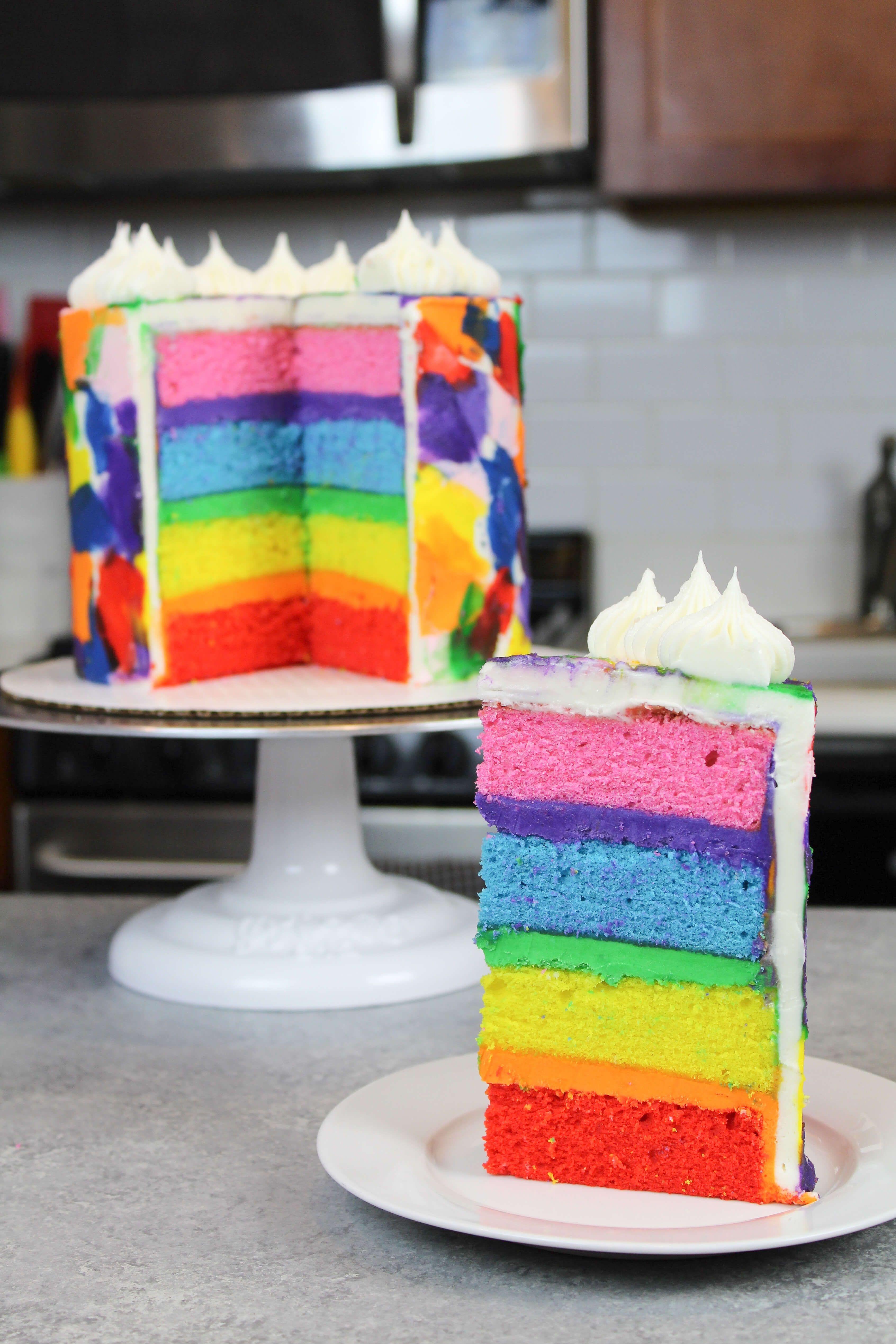 Enjoyable Rainbow Cake Recipe Rainbow Cake Recipe Rainbow Layer Cakes Birthday Cards Printable Giouspongecafe Filternl