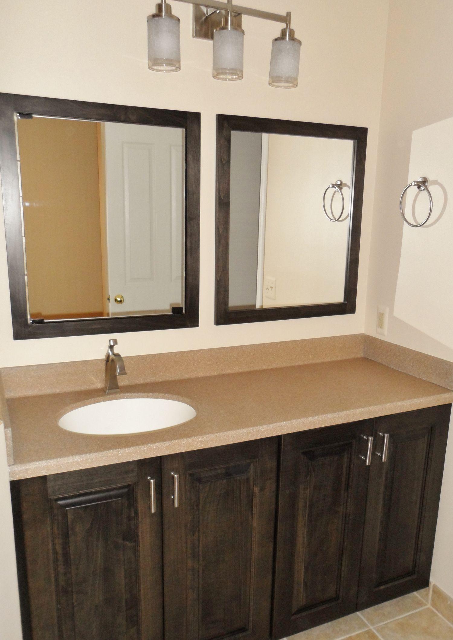 Bathroom Mirror Double Vanity Mirror With Simple Wooden