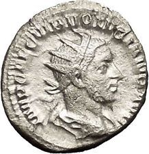 VOLUSIAN 251AD Silver Authentic Ancient Roman Coin Pax Peace Cult i53157