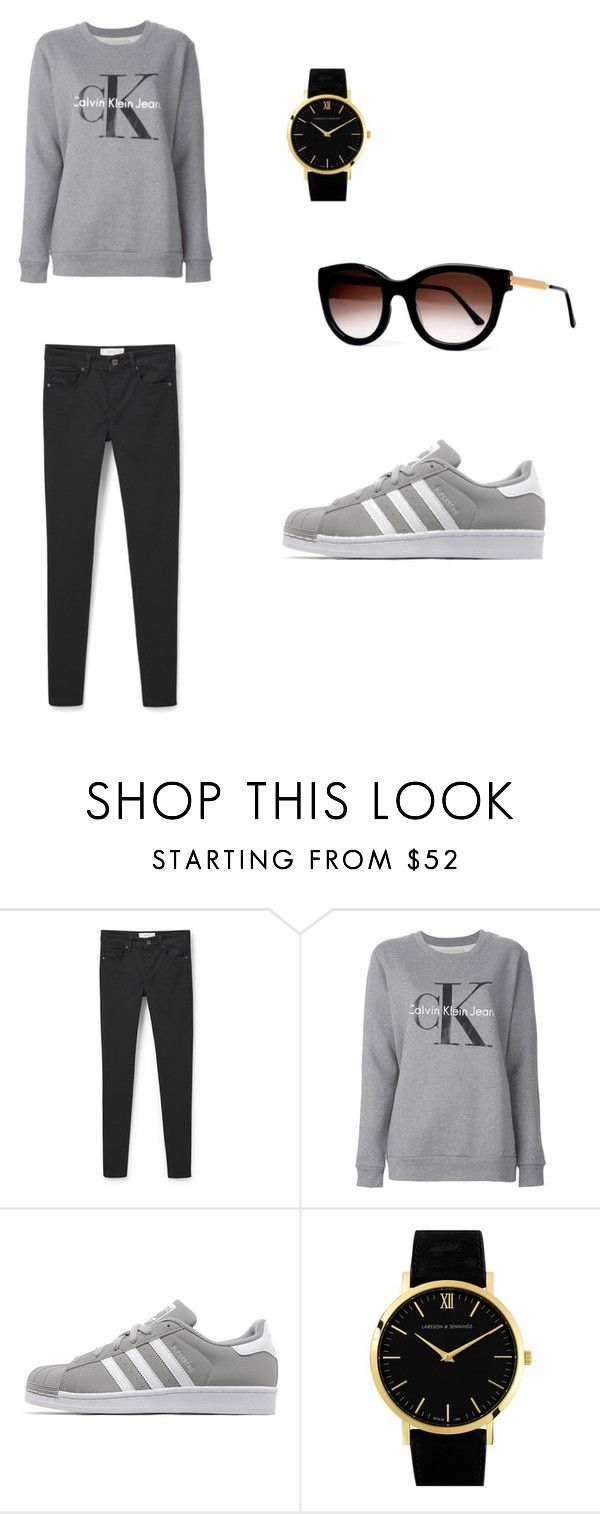 """""""Casual basic"""" by josephinavanleeuwen on Polyvore featuring MANGO, Calvin Klein Jeans, adidas Originals, Larsson & Jennings and Thierry Lasry"""