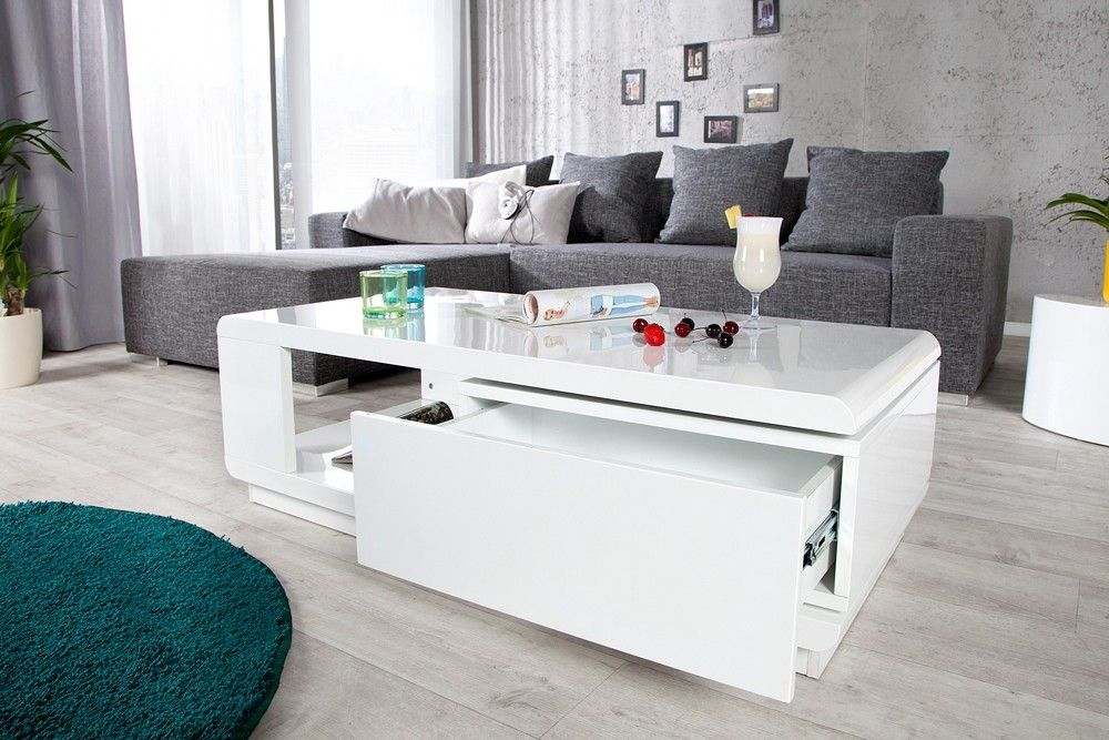 Table basse design taylor blanc blanc laqu bass and tables - Table basse ovale blanc laque ...