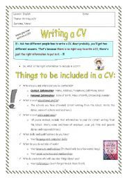 english worksheet cv writing esl pinterest worksheets