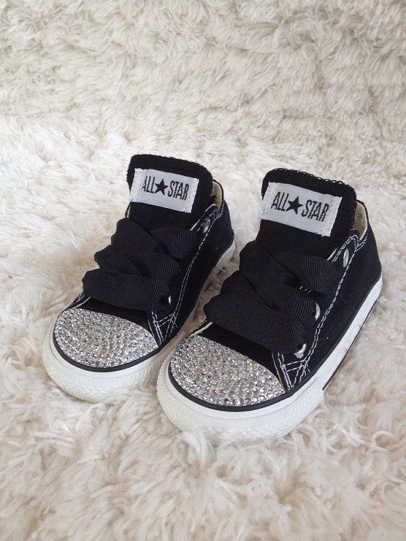 ab9f6221b1e0 Black bling converse. Infant and toddler sizes by GirlyGlamFairy ...