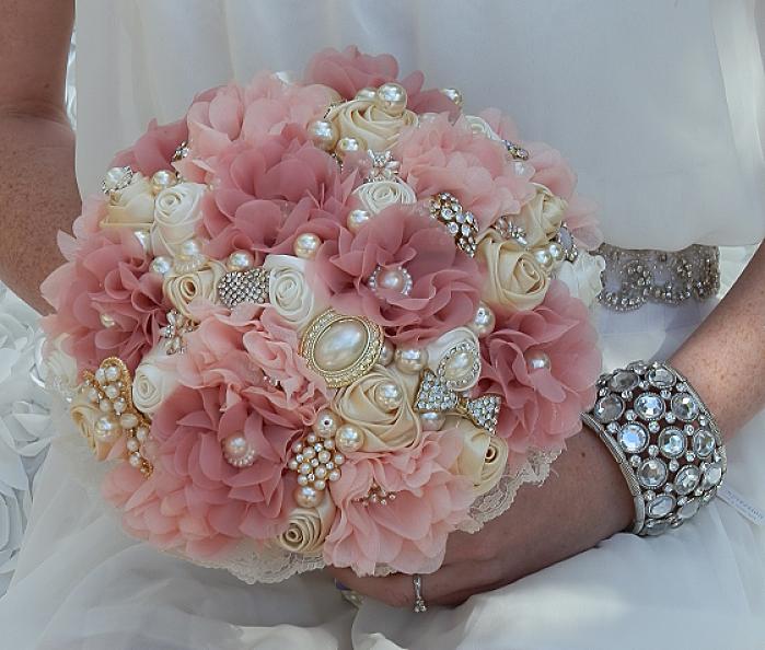 Vintage Dusty Rose Brooch Bouquet