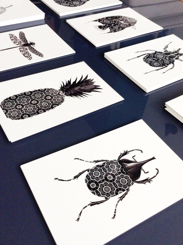 4 Cartes Postales Graphiques Noir Et Blanc Ananas Papillon Portrait Cerf Format 10x15 Design Par Digitalartparis