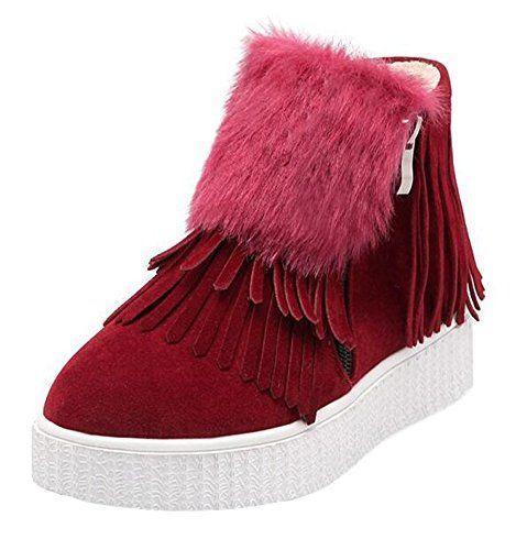 Women's Comfy Faux Fur Lined Waterproof Tassel Zipper Low Heel Platform Winter Warm Sneaker Boots