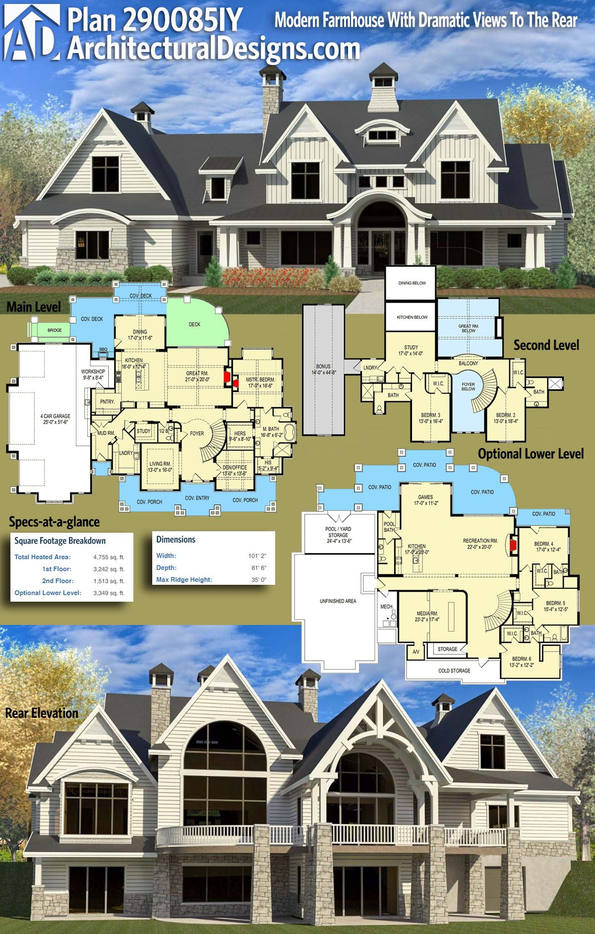 Architectural Designs Modern Farmhouse Plan 290085IY Gives You Over 4,700  Square Feet Of Heated Living Space, 3+ Beds And 3.5+ Baths With An Optional  Lower ...