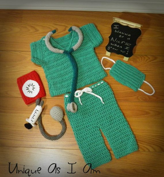 Crochet Baby Scrubs Top And Pants And Nursing Accessories With