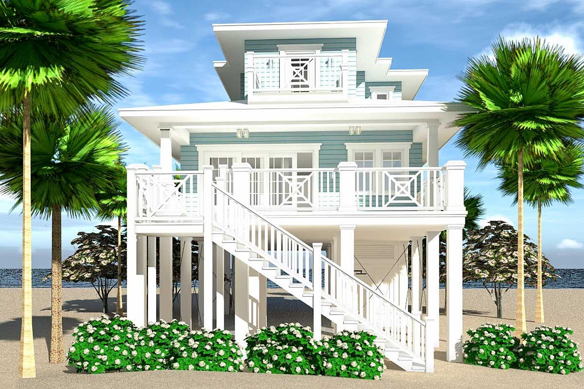 Plan 44161td Narrow Lot Elevated 4 Bed Coastal Living House Plan Modern Beach House Beach House Decor Beach House Plan