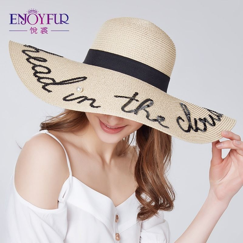 ENJOYFUR  letter pearl sun hat wide brim summer beach hat    arrival good  straw cap ,09 Product Specification: Department Name:Adult Material:Straw Material:Paper Gender:WOMEN Item Type:Sun Hats Style:Novelty Pattern Type:Letter