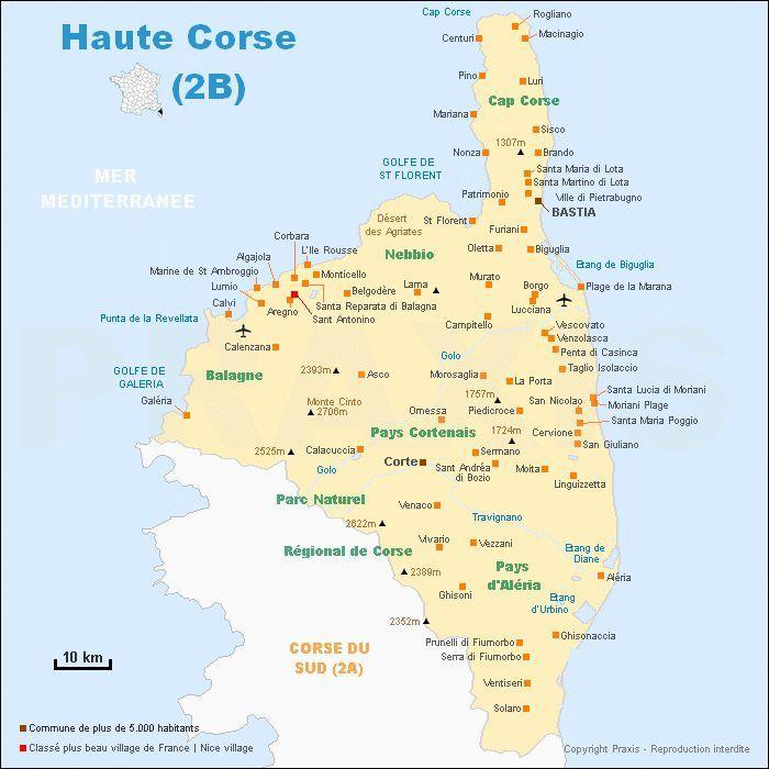 Top Carte de la Haute-Corse - Haute-Corse carte des villes, relief  ZB18
