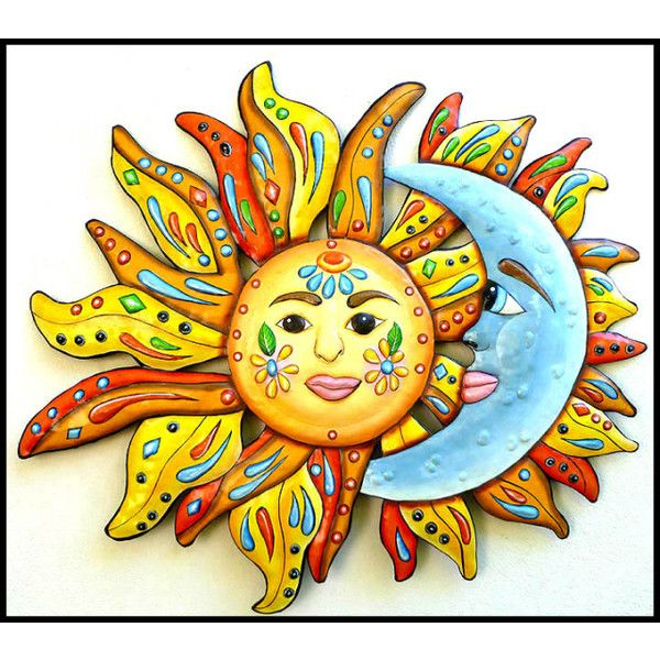 Sun Moon Painted Metal Wall Hanging Funky Art Handcrafted