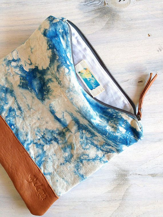 Kamari foldover clutch with hand painted by MyALaModeBoutique