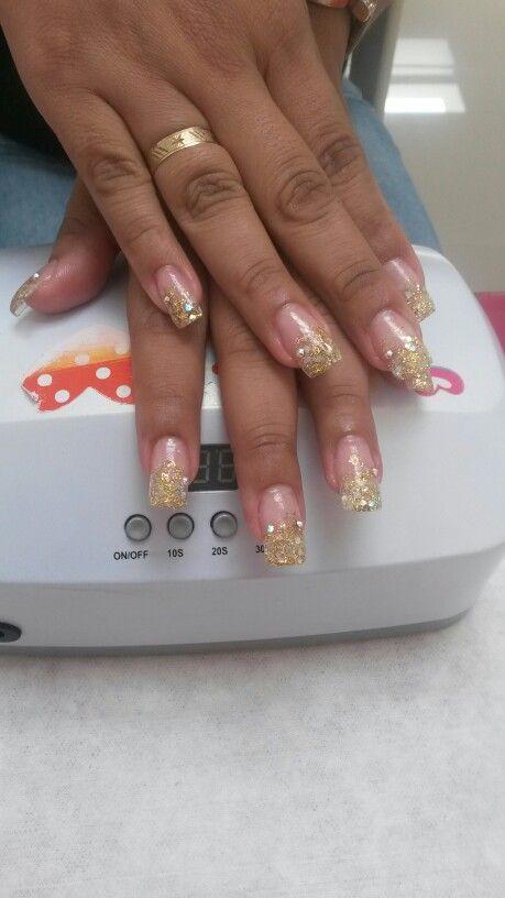 Uñas de cristal con gliter encapsulado y cristal de swarosky | Nails ...