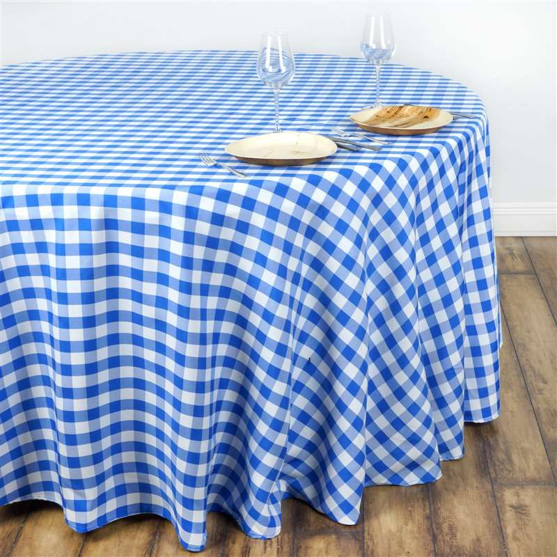 """108"""" round blue/white checkered wholesale gingham polyester linen"""