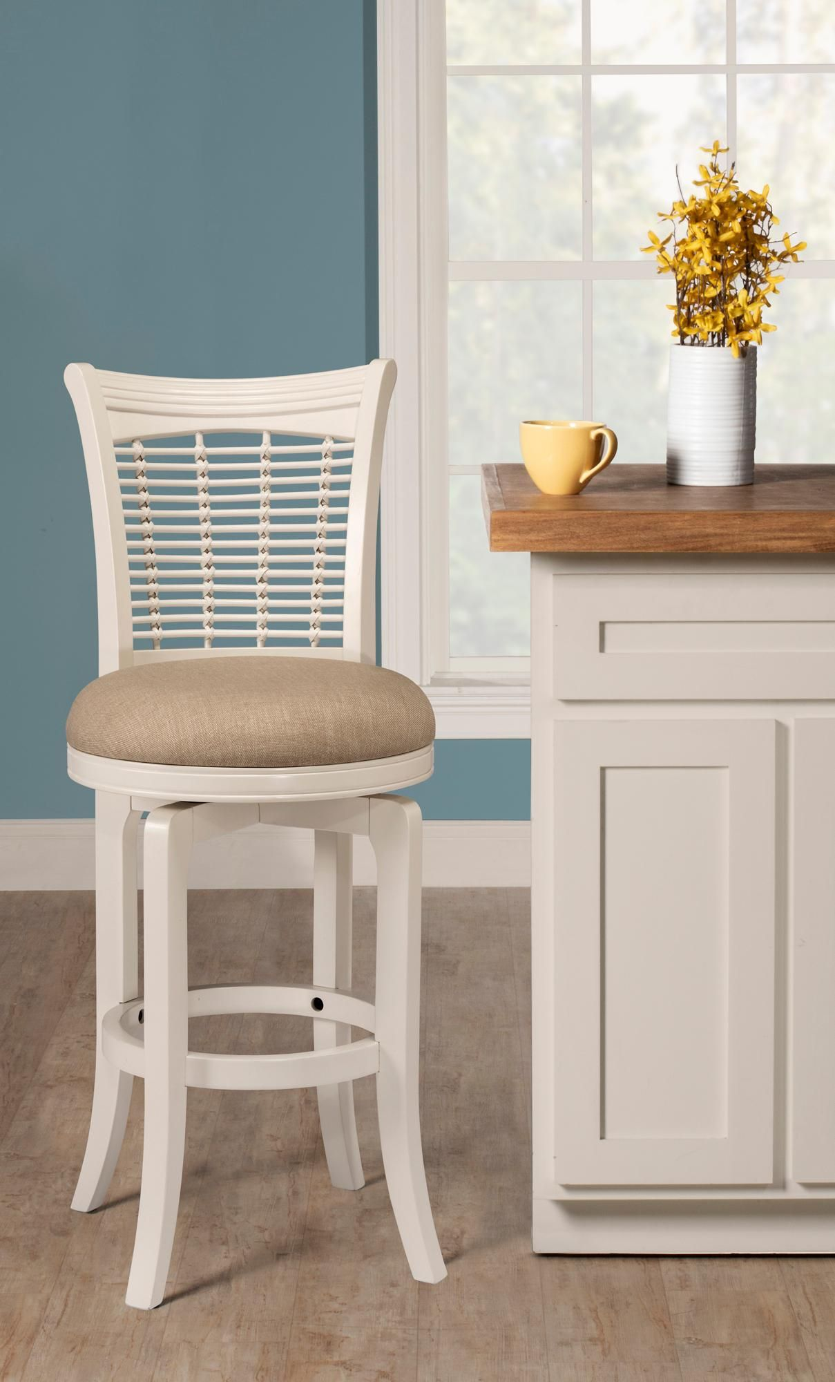 Bayberry 24 Inch Off White Woven Fabric Swivel Counter Stool