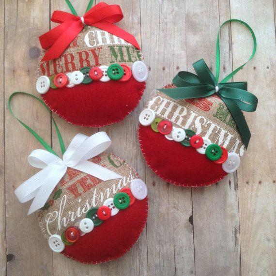 Arpillera de navidad adornos ornamentos de navidad tela - Ornamentos de navidad ...