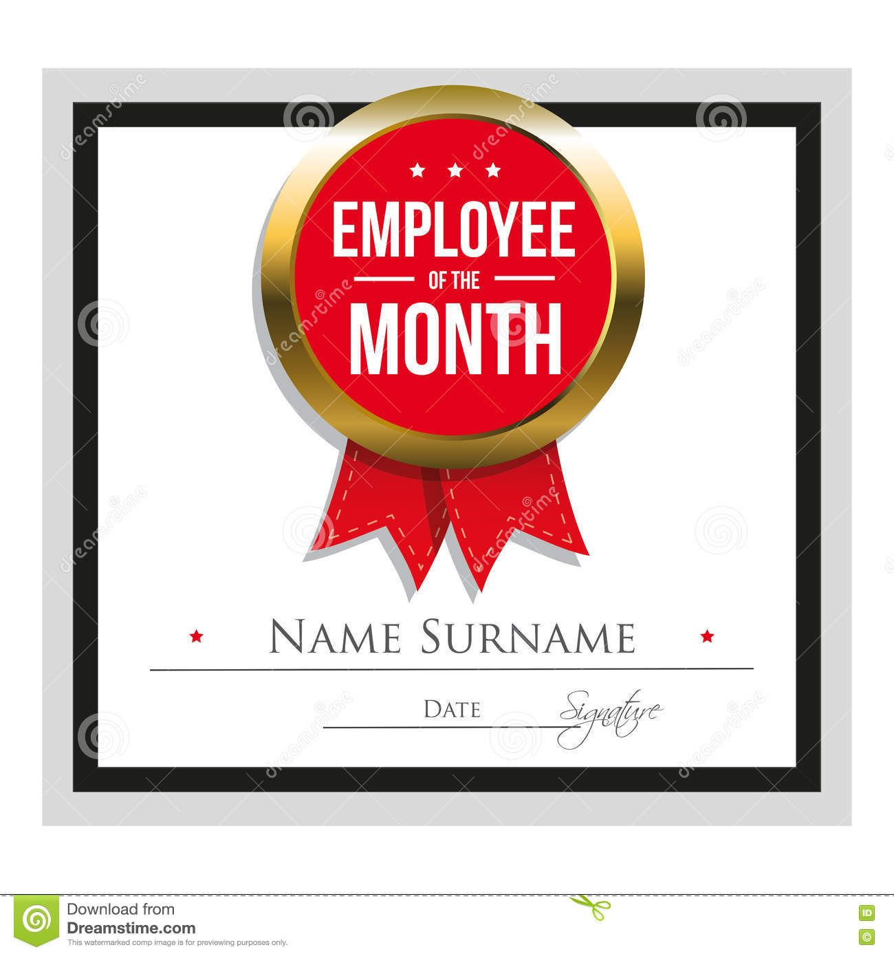 employee award certificate template free templates design the month employee of the month certificate template stock vector image - Employee Of The Year Certificate Free Template