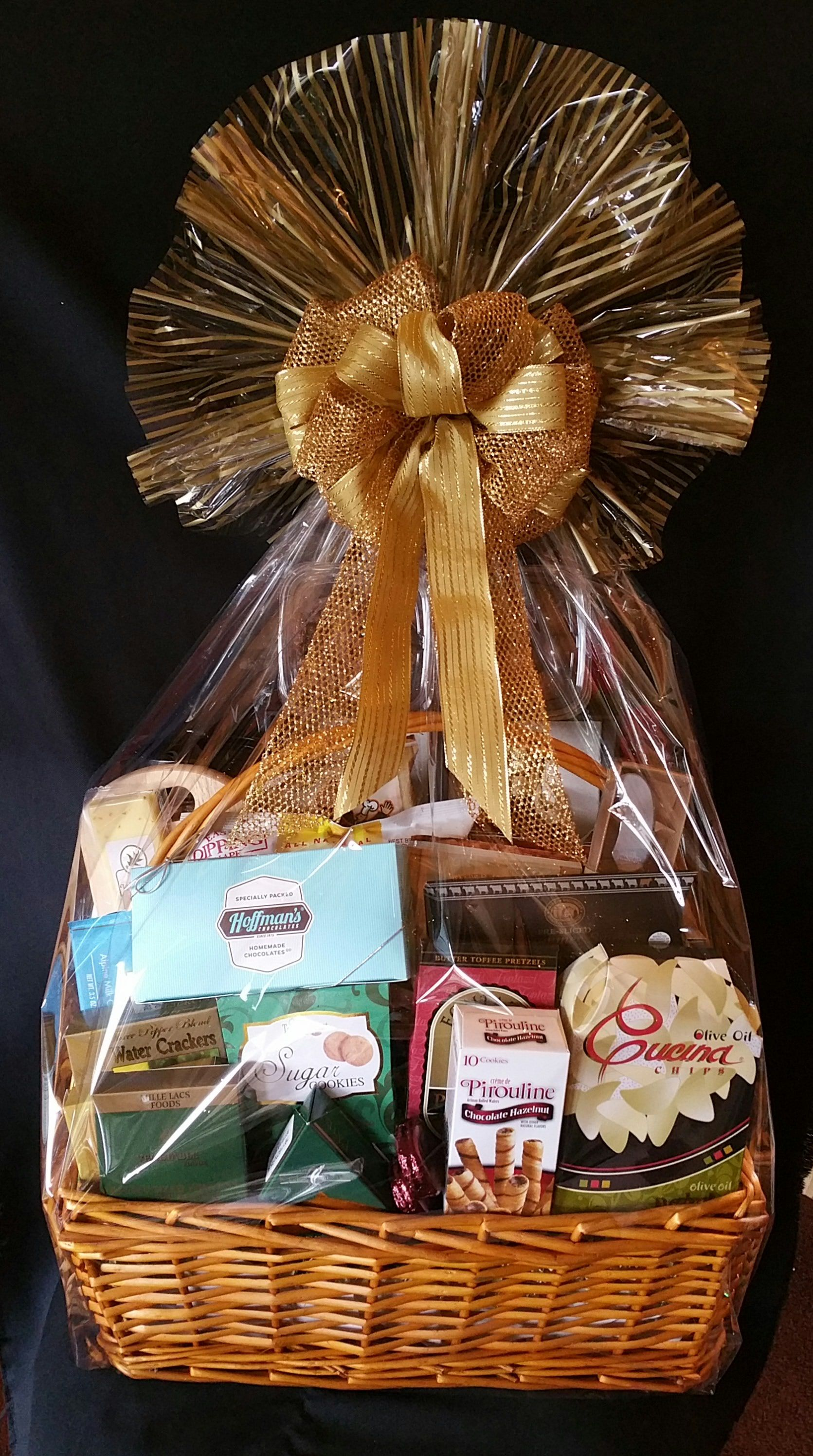 Jack Daniels Blue Label Gift Basket with various gourmet snacks and