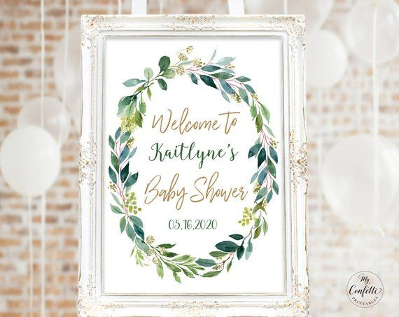 Greenery Baby Shower Welcome Sign Printable Large Baby Shower