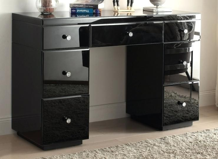 Inspirational Crystal Black Glass Mirrored Dressing Table Mirror Furniture Vanity With Dra Mirrored Furniture Dressing Table With Drawers Black Dressing Tables