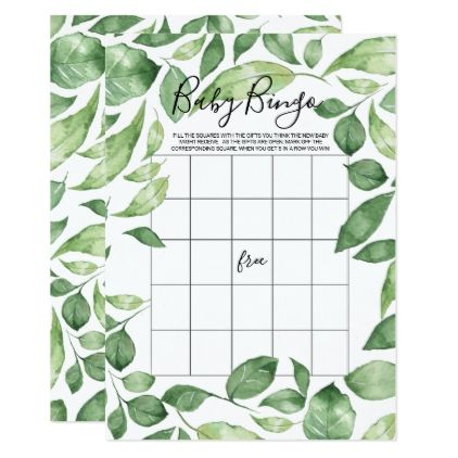 Baby shower bingo card green foliage baby shower bingo baby shower bingo card green foliage cyo customize do it yourself diy solutioingenieria Gallery