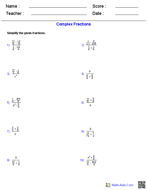 Complex Fractions Worksheets | Education | Pinterest | Algebra and ...