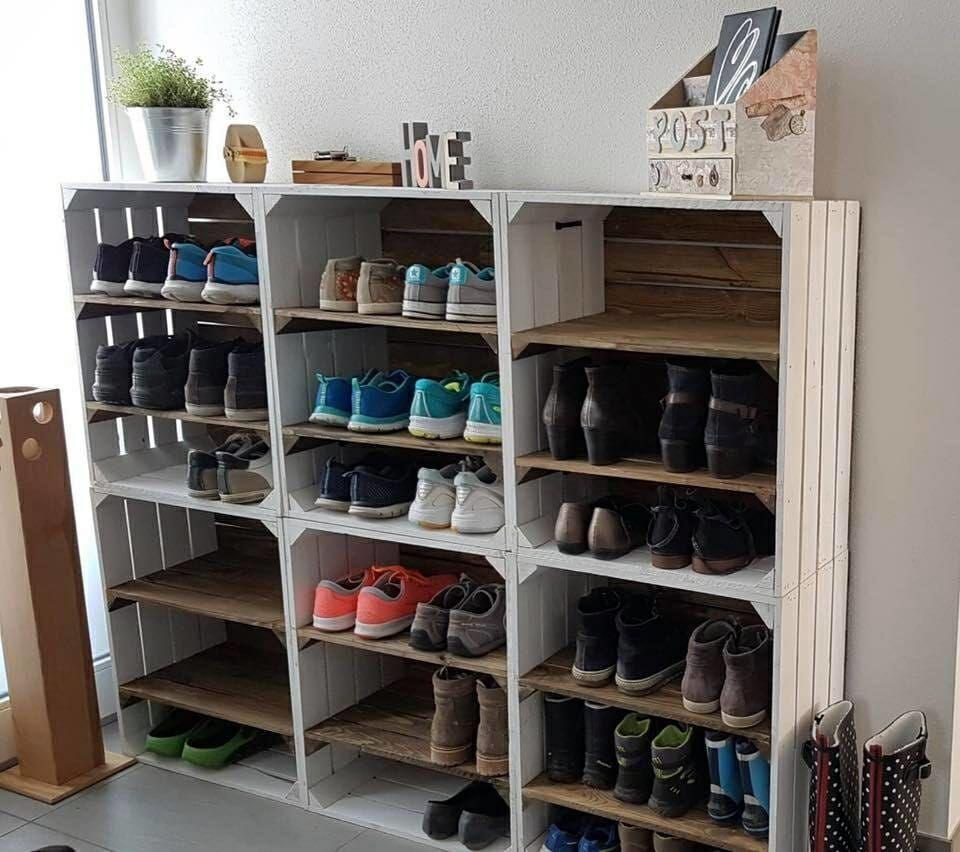 ᐅ Deko Ideen Mit Weinkisten Obstkisten Holzkisten Dekorieren Deko Dekorieren Holzkisten Ideen Mit Obstkis In 2020 Shoe Rack Diy Shoe Rack Shoe Rack With Shelf