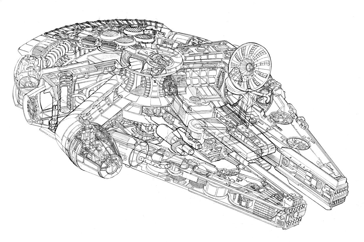 Millennium Falcon Cutaway By Christopher Cushman Millennium Falcon Coloring Pages Star Wars Awesome