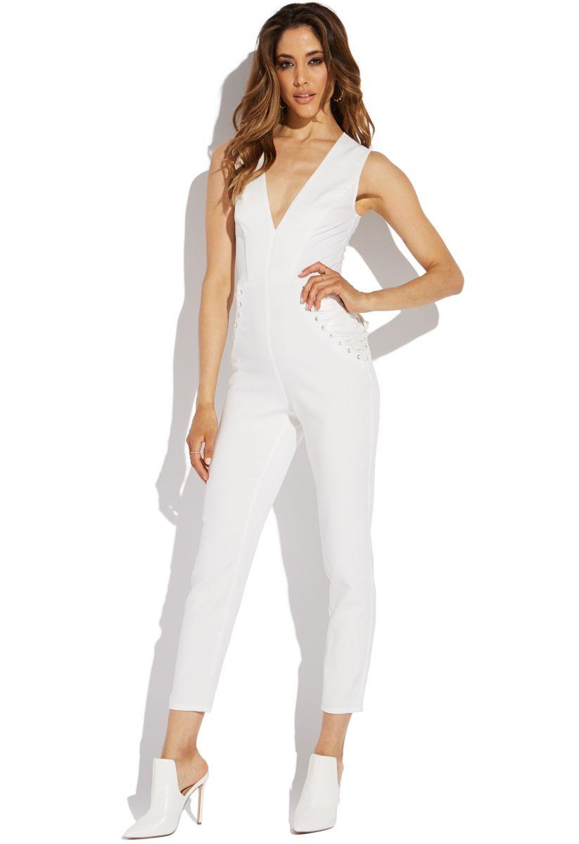 Shoedazzle Deep V Jumpsuit Womens Winter White Size M  a04df72f9