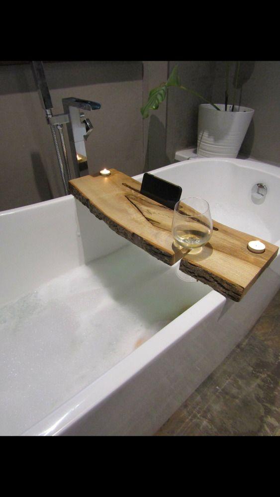 Handmade Rustic Farmhouse Shabby Live Edge Luxury Bath Caddy Bar ...