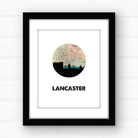 Lancaster PA wall art  Pennsylvania map art  by PaperFinchDesign