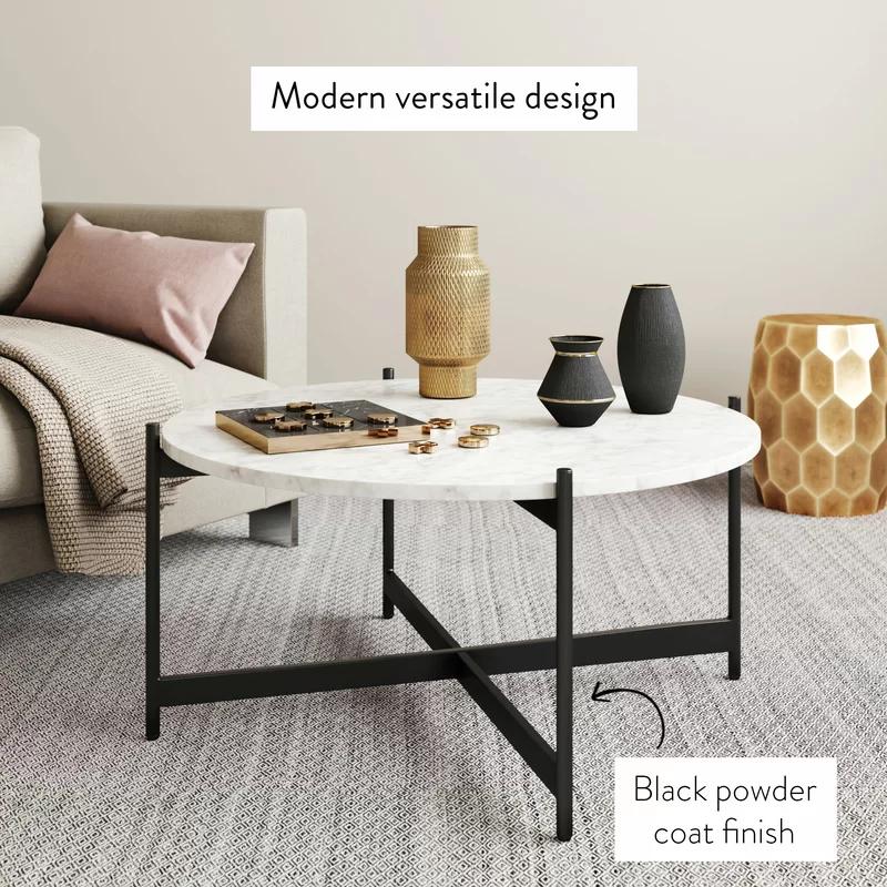 Belynda Cross Legs Coffee Table Coffee Table Living Room Modern Coffee Table Living Room Coffee Table #round #coffee #table #living #room
