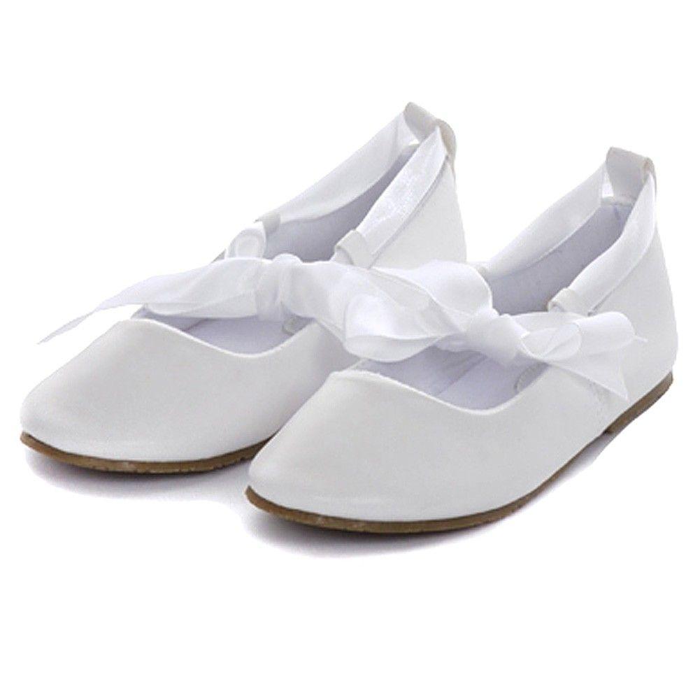 Kids Dream White Ballerina Ribbon Tie Rubber Sole Shoes Baby Girl 4