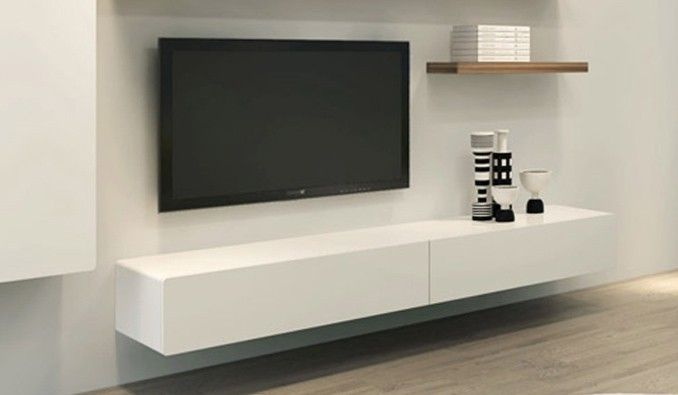 All White Floating Tv Shelf With Wooden Shelves Above
