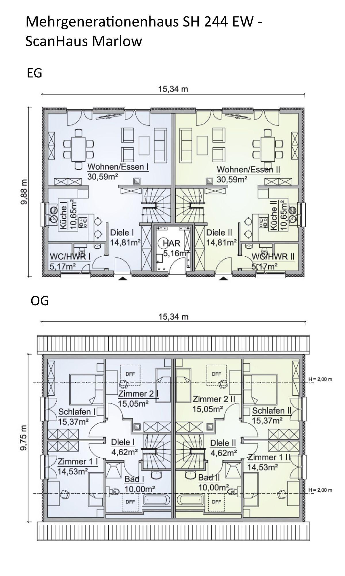 Mehrgenerationenhaus Grundriss mit Satteldach Architektur