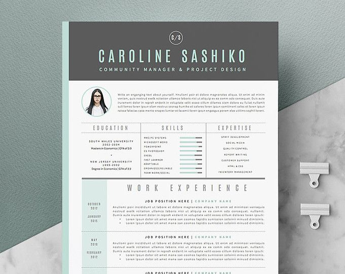 Modern Resume Template  Cover Letter Icon Set For Microsoft  Edu