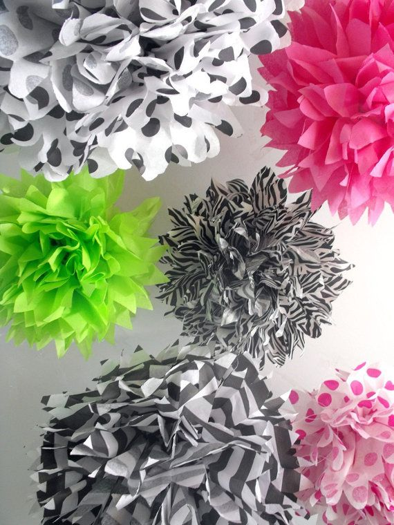 Tissue Pom Poms, Hot Pink, Zebra, Staggered In Corner Of