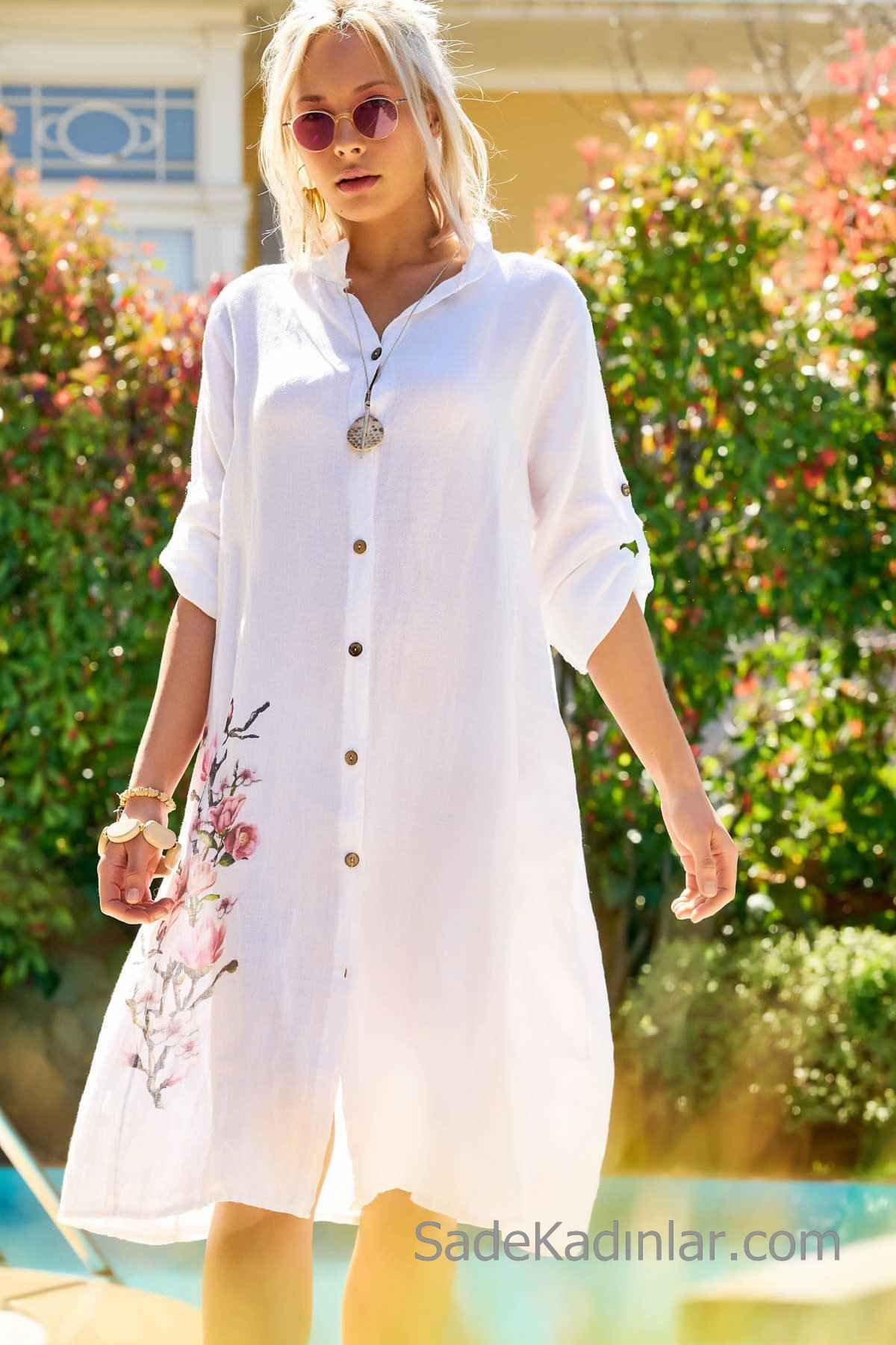2020 gunluk keten elbise modelleri beyaz dizboyu yakali yetim kol dugmeli nakis islemeli kiyafet kombinleri elbise modelleri elbise the dress