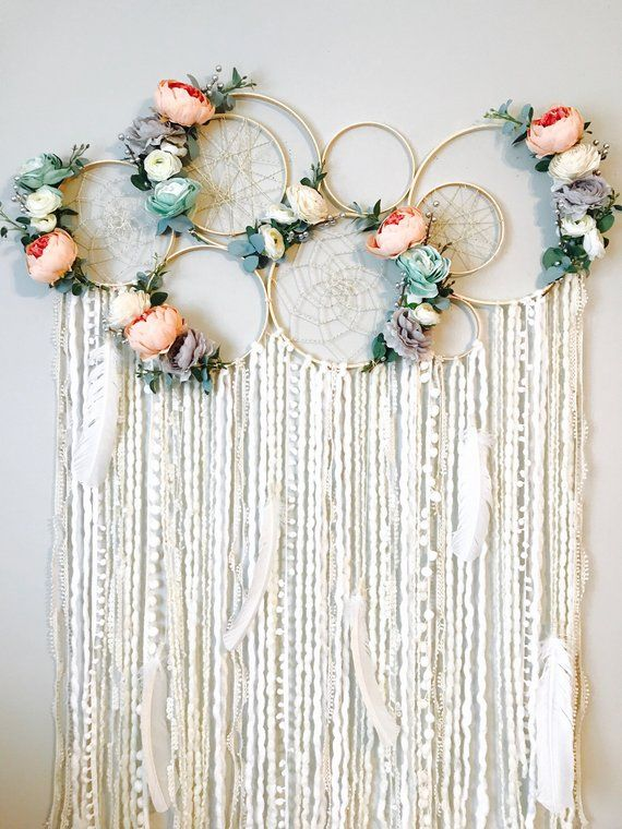 Large Dreamcatcher Wall Hanging, Floral Dreamcatcher, Nursery Dreamcatcher, Dreamcatchers, Dream catcher, Floral Wall Hanging, Nursery Art