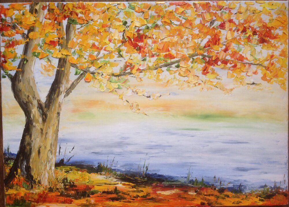 Tableau un arbre en automne # peinture à