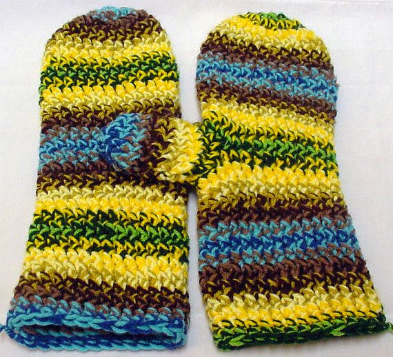 Crocheted Mittens By Spooner 1131 by TheSecurityBlanketCo on Etsy, $50.00