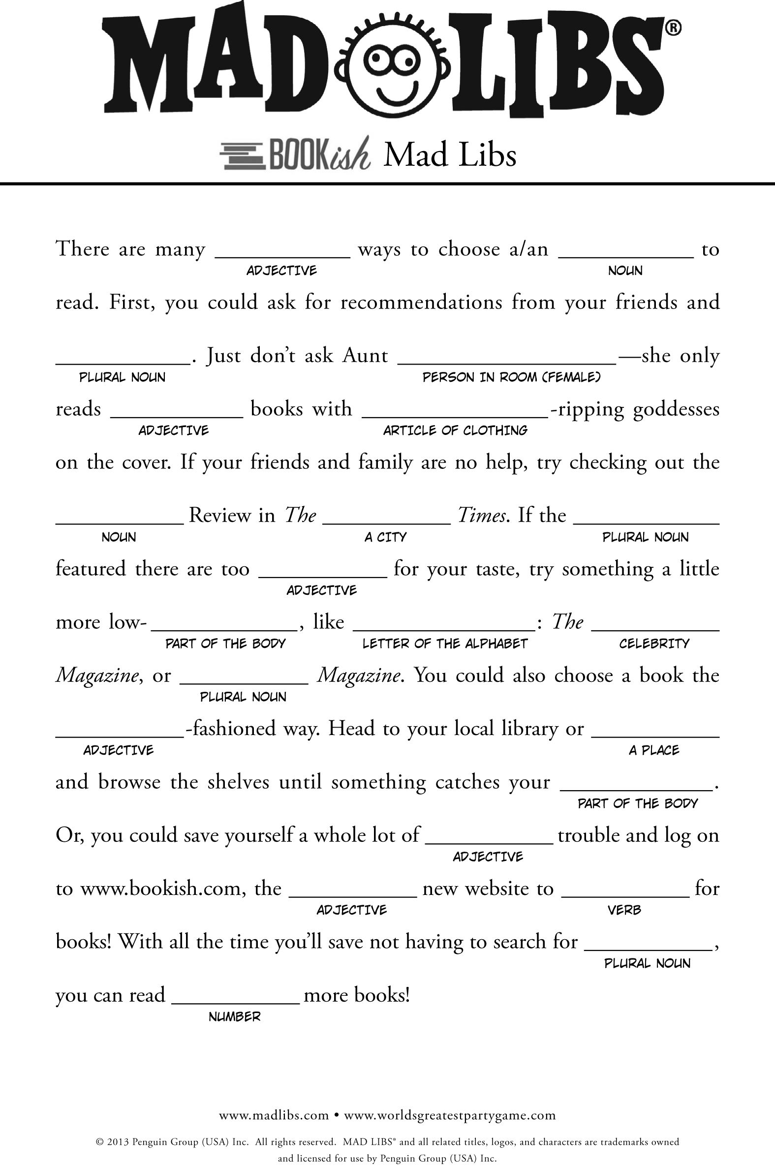 Free Mad Libs For Kids
