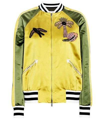 Buy it now. Appliqué silk satin bomber jacket. Yellow and green appliqué silk satin bomber jacket by Valentino , chaquetabomber, bómber, bombers, elbowdiamond, baseball. Yellow Valentino  bomber jacket  for woman.